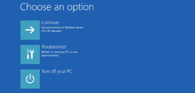 Windows 2012 R2 server boot loop to Windows Recovery Console